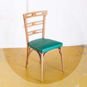 Cadira vinil i fusta,...